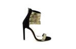 елегантни златни дамски сандали от естествен велур на висок ток 02.521