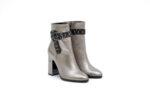 Елегантни сиви дамски боти от естествена кожа на висок ток 29.12334