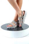 Ежедневни сиви дамски сандали от естествена кожа 42.203