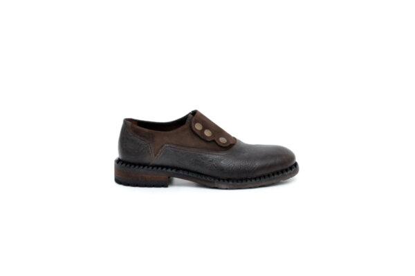 Ежедневни кафяви мъжки обувки от естествена кожа и велур 11.3917
