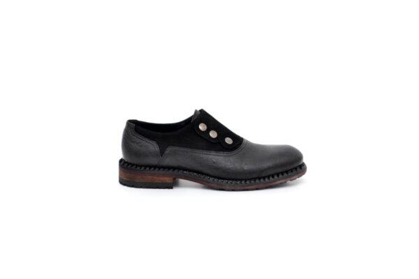 Ежедневни черни мъжки обувки от естествена кожа и велур 11.3917