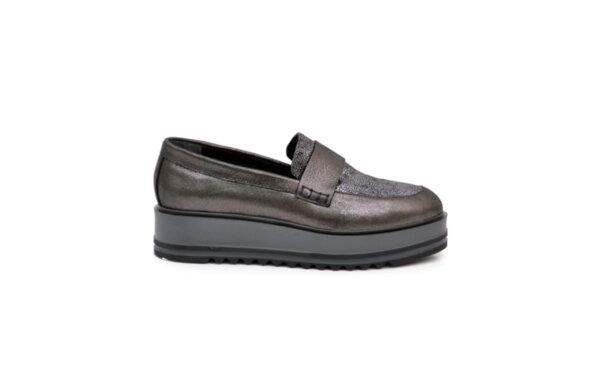 Ежедневни сиви дамски обувки от естествена кожа 01.353
