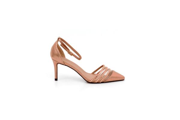 Елегантни розови дамски сандали от текстил на висок ток 47.20232