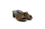Дамски зелени чехли от естествен велур на среден ток 29.705