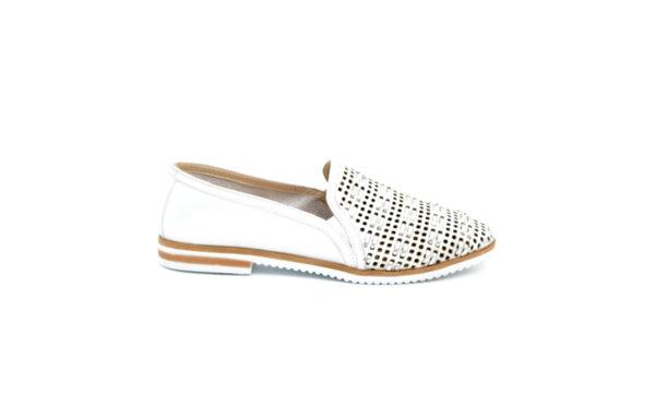 Ежедневни бели дамски обувки от естествена кожа 04.014
