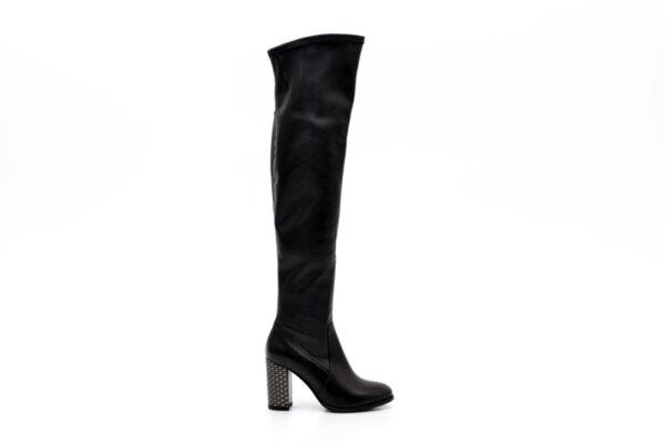 Елегантни черни дамски ботуши от естествена и еко кожа на висок ток 04.8952