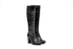 Елегантни черни дамски ботуши от естествен лак на висок ток 04.8950