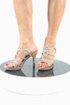 Елегантни златни дамски сандали от текстил на висок ток 47.6829