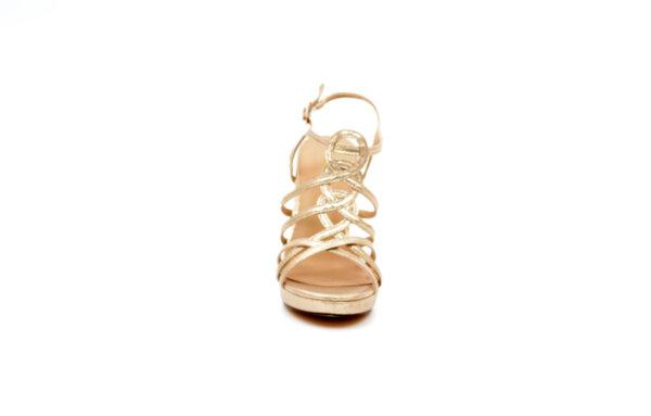 Елегантни златни дамски сандали от еко кожа на висок ток 47.9614