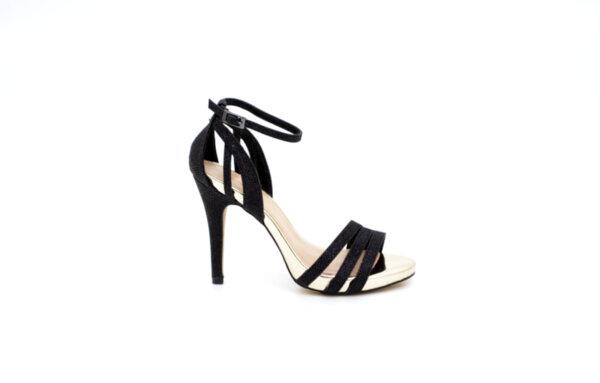 Елегантни черни дамски сандали от еко кожа на висок ток 47.7540