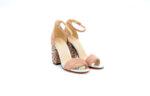 Елегантни розови дамски сандали от текстил на висок ток 47.9473
