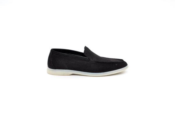 Ежедневни черни мъжки обувки от естествен набук 11.5160