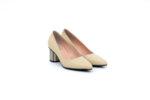 Елегантни бежови дамски обувки от естествена кожа на висок ток 04.88350