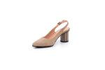 Елегантни бежови дамски сандали от естествен велур на висок ток 04.88352