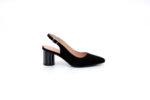 Елегантни черни дамски сандали от естествен велур на висок ток 04.88352