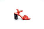 Елегантни червени дамски сандали от лак на висок ток 04.1272