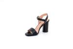 Елегантни черни дамски сандали от естествена кожа на висок ток 04.380