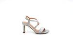 Елегантни сиви дамски сандали от текстил на висок ток 47.21421