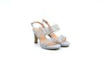 Елегантни сиви дамски сандали от текстил на висок ток 47.21822