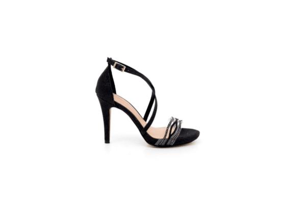 Елегантни черни дамски сандали от текстил на висок ток 47.21598