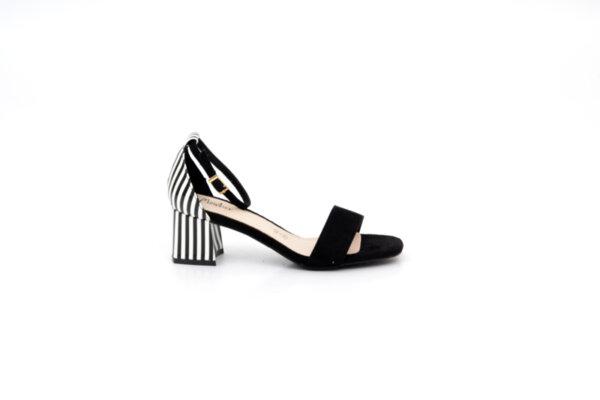 Елегантни черни дамски сандали от текстил и еко кожа на висок ток 47.21726