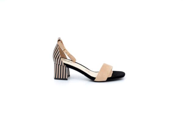 Елегантни бежови дамски сандали от текстил и еко кожа на висок ток 47.21726