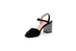 Елегантни черни дамски сандали от естествен велур на висок ток 04.6812
