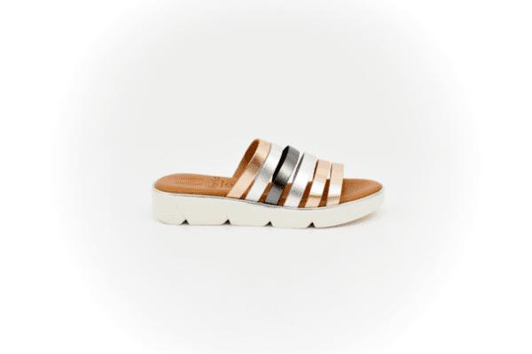 Дамски сиви чехли от естествена кожа 40.1311