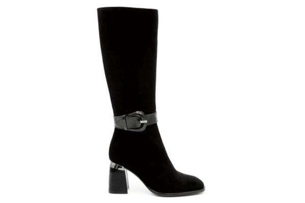 Елегантни черни дамски ботуши от естествен велур на висок ток 29.1448
