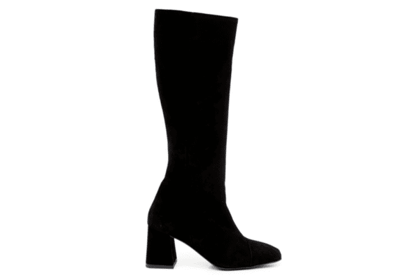 Елегантни черни дамски ботуши от естествен велур на висок ток 01.325
