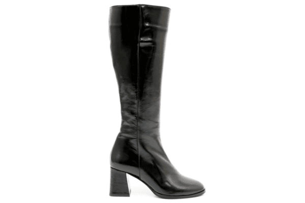 Елегантни черни дамски ботуши от естествен лак на висок ток 01.81
