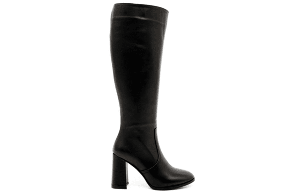 Елегантни черни дамски ботуши от естествена кожа на висок ток 01.853