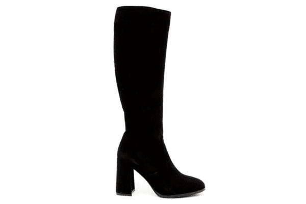 Елегантни черни дамски ботуши от естествен велур на висок ток 01.85