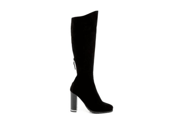 Елегантни черни дамски ботуши от естествен велур на висок ток 29.448