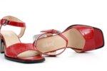 Елегантни червени дамски сандали от естествен лак на висок ток 29.15080