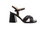 Елегантни черни дамски сандали от естествена кожа на висок ток 04.6881