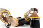 Елегантни жълти дамски сандали от естествена кожа на висок ток 29.15039