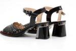 Елегантни черни дамски сандали от естествена кожа на висок ток 29.15050