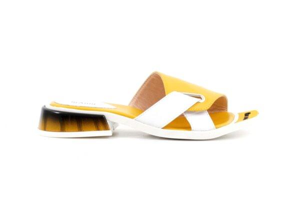 Дамски жълти чехли от естествена кожа 04.2036