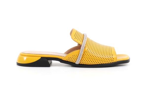 Дамски жълти чехли от естествена кожа 06.1217