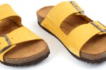 Дамски жълти чехли от естествен набук 06.38121