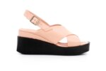 Ежедневни розови дамски сандали от естествена кожа на висок ток 06.56220