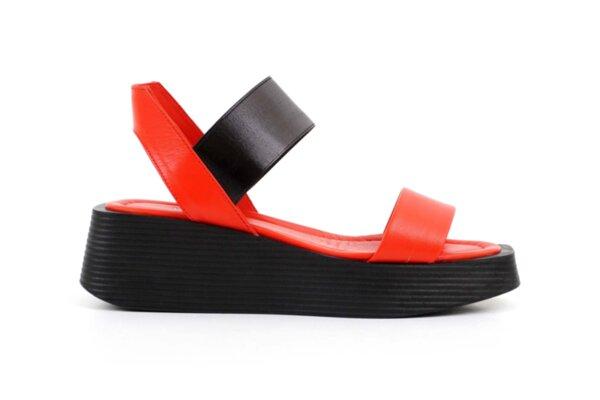 Ежедневни червени дамски сандали от естествена кожа 56.2605
