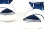 Ежедневни бели дамски сандали от естествена кожа на висок ток 56.2754