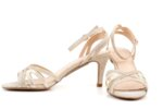 Елегантни златни дамски сандали от текстил на висок ток 47.21608
