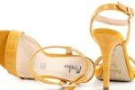 Елегантни жълти дамски сандали от еко кожа и текстил на висок ток 47.22513