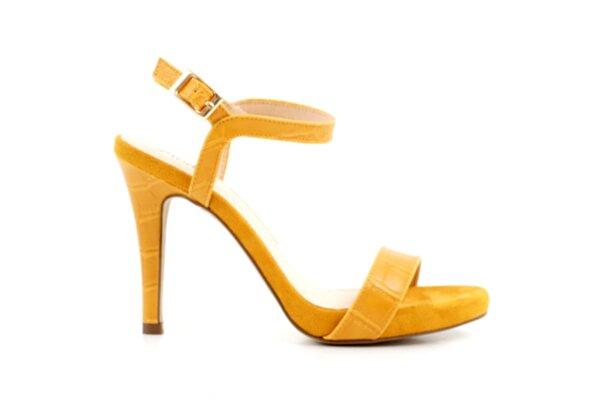 Елегантни жълти дамски сандали от еко кожа на висок ток 47.22513