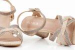 Елеганти златни дамски сандали от текстил на висок ток 47.21671