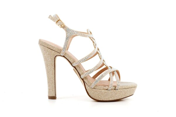 Елегантни златни дамски сандали от текстил на висок ток 47.22230