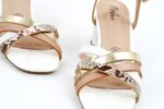 Елегантни бели дамски сандали от еко кожа на висок ток 47.21357
